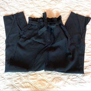 Tie-Front Black Slacks